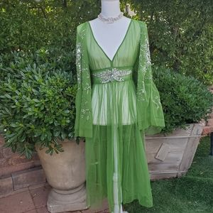 Free people vintage dream dress/top small green tu